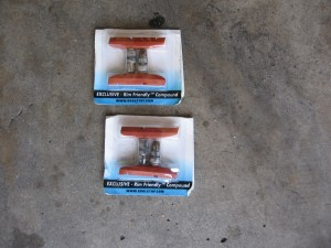 Two spare sets of brake pads