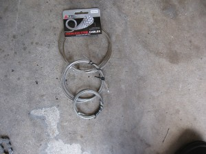 front and rear deraileur cables, brake cables