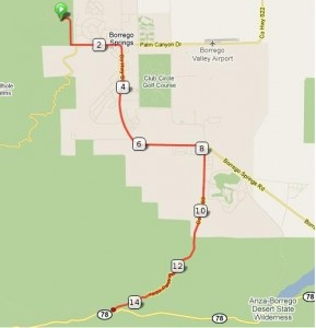 Route from Palm Canyon to Yaqui Wells Road