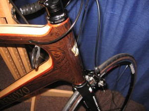head tube of Renovo Hardwood Bicycle