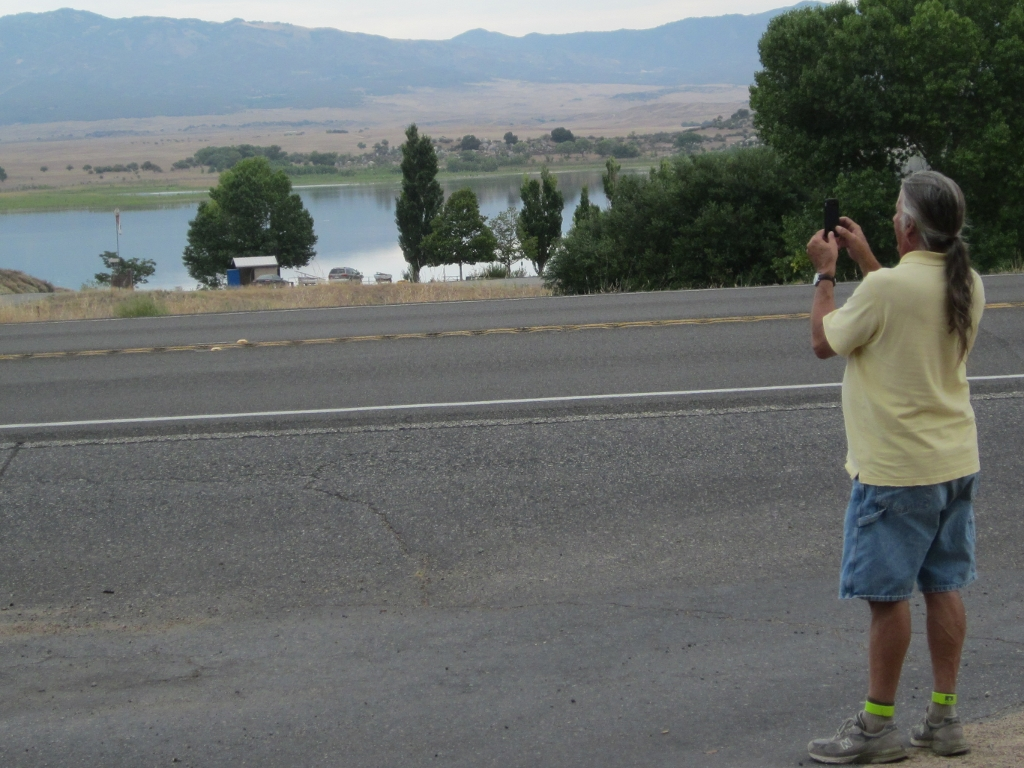 Velorambler taking a picture of Paul taking a picture of Lake Henshaw