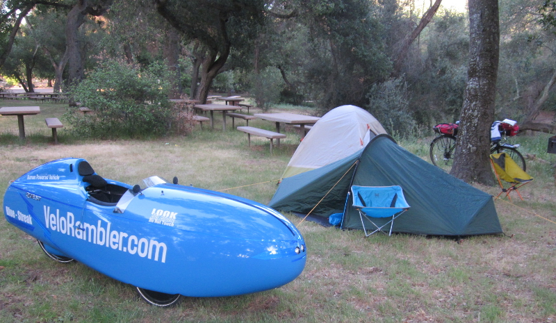 Velomobile and Tent